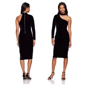 Black Velvet One Shoulder Dress
